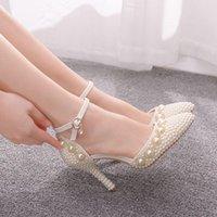 Elbise ayakkabı kristal kraliçe sivri burun fildişi beyaz inci düğün gelin ince yüksek topuklu zarif kadın parti ayak bileği kayışı seksi sa nisf