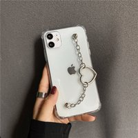 INS Fashion Heart Chain Phone Cases For iPhone 13 12 11 Pro MAX XS XR SE 7 8Plus Clear Protect Cover Love Bracelet