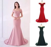 Dusty Rose Pink Bridesmaid Dresses Mermaid Floral Lace Applique Beaded V Neck Wedding Guest Evening Dress Off Shoulder Maid of Honor Gowns