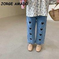 Korean Style Spring Teenagers Girls Jeans Love Heart Elastic Waist Denim Loose Pants Kids Clothes E1001 210610