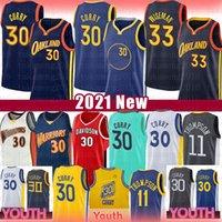 Stephen 30 Köri James 33 Wiseman Basketbol Jersey Erkek Gençlik Çocukları 2021 Yeni Golden Klay 11 Thompson StateSavaşçılarJersey