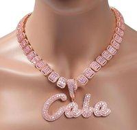 Пользовательские названия кисти сценарий Начальная буква подвеска ожерелье замоложенный белый розовый CZ алмазы 18 дюймов багет теннисный цепь хипхоп ювелирные изделия