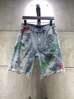 رجل جينز قصير تصميم الصيف الفرنسية الصلبة الكلاسيكية نمط خمسة ستا السراويل زيبرا الفلورسنت شريط أزياء مصمم أعلى جودة sz 29-40