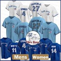 Toronto Mens Blue Jays Mulheres 4 George Springer Custom 27 Vladimir Guerrero Jr. Baseball Jersey 11 George Bell 29 Joe Carter Roberto Alomar