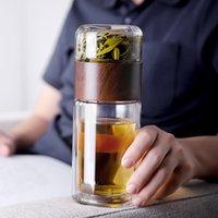 Чайная вода Кубок Тумблеров Двойное прозрачное Стекло Творческий Домашняя Теплостойкая Бутылка Оптом