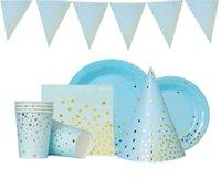Placas de fiesta de papel desechables DOT DOT 61 PCS Conjunto, Tailware para cumpleaños Baby Shower Boda