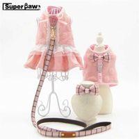 Fashion Princess Style Dog Cat Harness Pet Dress Waistcoat Collar & Leash Set Pets Traction Clothes Winter Warm Dogs Pug AML15 H0914