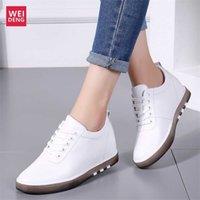 Weideng augmente 6cm cuir véritable casual chaussures plates chaussures de plate-forme femme bottes loisirs féminin mocassins de lace haute lumière mous 201217