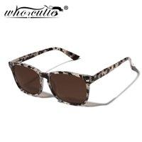 Who Cutie Gafas de sol Polarizadas para Mujeres Hombres 2021 Diseño de marca Leopardo Marco de rectángulo Clásico Trendy Stindy Sun Glasses UV400