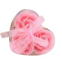 3 unids perfumado flor de rosa pétalo bañera cuerpo jabón amor corazón plato platos platos de baño platos de regalo de fiesta de boda