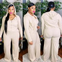 solid Women's Tracksuits Cy1371 color leisure wide leg pants sportswear small pit strip material large size three piece set