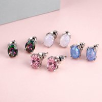 Diamond Opal stud Earrings Engagement Wedding Ear rings women fashion Jewelry will and sandy gift dff1561