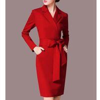 Casual Dresses Temperament Dress Female 2021 Spring Fashion Large Size Slim Suit Collar Long Sleeve Tide 034