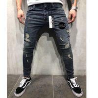 Männer Jeans Kochen Heng Xin Stretchy dünne Bleistifthose Zerstörte Franched Schnurrbart Effekt Hosen Mode Streetwear Herren gerissen
