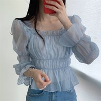 Alieny Kitty Sweet Light Square Cuello Plisado All Partido 2020 Sexy Solid Solid Girls Mujeres Blusas Chic Elegance High Cintura Camisas
