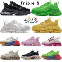 Paris Casual Shoes 17FW Triple S Sneakers Mens Women Designers Sneaker Clear Sole White Green Black Red Rainbow Sports Balencaigas Dad Shoe