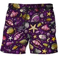 Shorts masculinos 2021 homens de verão calças de praia moda impresso organismo marinho casual 3d natação personalizado rua streetwear roupas