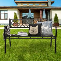 미국 주식 공원 가든 벤치 현관 경로 의자 갑판 철 프레임 검은 색 젖은 또는 건조한 청소 쉽게 맞춤