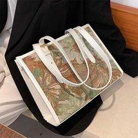 Fashion Painting Flower Luxury Brand Large Tote Trends Women Designer Handbag High Capacity Top Handle Shoulder Bags 211023