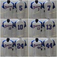 Mens 5 Freddie Freeman Jerseys de béisbol 7 Dansby Swanson 10 Chipper Jones 13 Ronald Acuna JR 24 Deion Sanders 44 Hank Aaron Steins Cool Base Team White