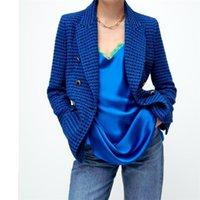 Women's Suits & Blazers MESTTRAF Women 2021 Fashion Tweed Double Breasted Blazer Coat Vintage Long Sleeve Flap Pockets Female Outerwear Stre
