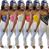 Mulheres Colete 2021 Verão Novo Designer Fashion's Women Collar Breast Wrap Tops Nightclub Sexy Imprimir Bra Big Big Bigerichief Top Lulu365