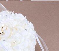 زواج الدائري وسادة حفل العاج الساتان كريستال زهرة حلقة حامل وسادة وسادة شكل قلب الزهور الدائري وسادة وسادة 451 v2