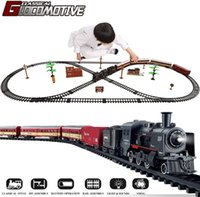 Elektrische Zug Spielzeug Set Auto Eisenbahn und Tracks Steam Lokomotive Engine Diecast Modell Pädagogische Spiel Jungen Spielzeug für Kinder Kinder 210426