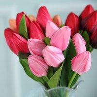 Simulación 7 Cabeza Tulipanes Arreglo de flores Postre Tabla Guirnalda Haciendo la decoración de la escena Flores falsas