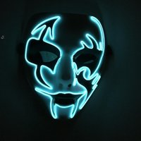 Luminous Face Mask Halloween Decorations Hand Painted LED Dancer Party Cosplay Masquerade Street Dance Rave Toy BWD10440