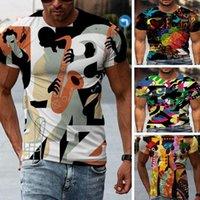 Colorato Colore Colore Uomo Maglietta 3D T Shirt Grafica Illusione ottica Manica Corta Party Top Street Punk e Gothic Crew Collo Summer