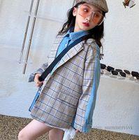 Fall Kids plaid splicing denim jacket girls boys lapel long sleeve outwear children fake two piece casual tops clothing Q1112