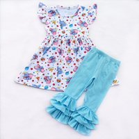 wholesales spring boutique outfits children clothing Dumbo-print short sleeve girls set