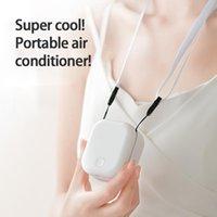 Elektrikli Hayranları Mini USB Yaka Hung Fan Soğutucu Şarj Edilebilir Taşınabilir Klima Kolye Rüzgar Ev Dış Soğutma için Sessiz