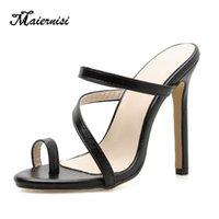 슬리퍼 Maiernisi 여성 샌들 섹시한 하이힐 신발 여름 단단한 엿봄 발가죽 가죽 샌들 큰 크기 브랜드