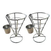 Jewelry Pouches, Bags 2Pcs French Fries Stand Cone Basket Fry Holder With Sauce Dippers Metal Fried Chicken Display Rack Wire