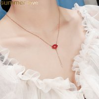 Sexy Red Lips Choker Necklace for Women Gold Plating Stainless Steel Chain Necklaces Clavicle Party Jewelry