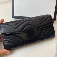 Kadın Erkek Cüzdan Uzun Kısa Kredi Kartı Sahibi Çantalar Koyun Derisi Deri Para Klip Debriyaj Çanta Tasarımcısı Kapitone İnsan Şeklinde Şerit Siyah Klasik Moda Cüzdan