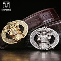Cintura di coccodrillo di lusso McParko per uomini in vera pelle con strass in stile cinese mascotte dio della ricchezza pantaloni cinture in vita