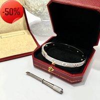 Lusso amore dell'oro del diamante Full Acciaio cristallo firmatario donne del braccialetto Mens gioielli di moda cacciavite dei braccialetti del polsino dei braccialetti con il sacchetto