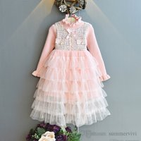 Girls tiered lace tulle cake dresses kids knitted ruffle collar falbala sleeve splicing gauze princess dress children birthday party clothing Q2690