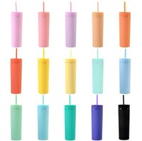 16oz Akrilik Tumblers Mat Renkler Su Şişeleri Çift Duvar 500 ml Tumbler Kahve Içme Plastik Sippy Kupası Ile Kapaklı Samanlar