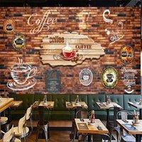 Wallpapers Custom Retro Brick Wall Coffee Theme Industrial Decor Wallpaper Cafe Bar Cake Shop Mural Self Adhesive Contact Paper