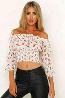 Women's T-Shirt Spot Cross Border Foreign Trade Style Printed Chiffon One-word Shoulder Dress Women Wear 4B8J