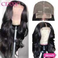 Lace Wigs 4*4 Closure Malaysian Body Wave 180% Density Human Hair For Black Women 30 Inch Long Length Wig Remy