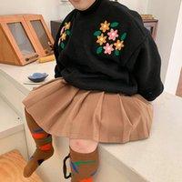 Novo 2020 Inverno Roupas Nova Versão Coreana Meninos e Meninas Flor Bordado Sweater Childs's Plush's Plush Y1126 495 Y2