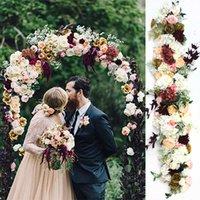 1M European wedding props silk artificial flower row arrangement stage T platform road guide arch floral wall decor