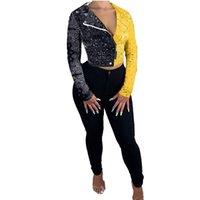 Bandana Print Color Patchwork Short Jackets for Women Zipper Turn Down Collar Long Sleeved Coat Fashion Outwear S-3XL