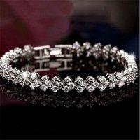 Luxury Austria Tennis Shining Crystal Genuine 925 Sterling Silver Charms Zircon Diamond Roman Link Bracelet Jewelry