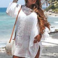 Womens Beach Dress Bathing Suit Lace Crochet Bikini Cover Up Swimwear Solid Color Off-shoulder Summer Short Mini Women's